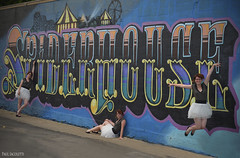 3 Times Alyssa (pauliacoletti) Tags: city blue red urban house art girl wall photoshop austin three spider jumping ut model nikon texas manipulation skirt redhead merge blend d7000