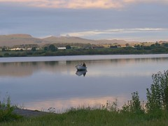 One Man and His Boat (B4bees) Tags: reflection water sunrise dawn scotland boat still earlymorning hills shore fisher kinross angling lochleven sheltered lochlake brianforbesphotography scottishanglingcollege