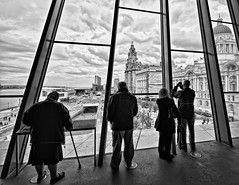 Looking Out (Hazeldon73- catching up !) Tags: new people white black museum liverpool river mono view mersey pierhead mygearandme ringexcellence