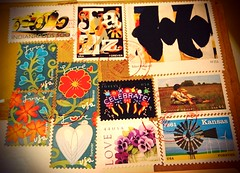 Postage Stamps (travelontheside) Tags: usa love post mail box stamps jazz stamp kansas forever champaign parcel package celebrate postage postmark indy500 usmail postagestamps indianapolis500 stampart winslowhomer robertmotherwell postmarked unitedstatesmail