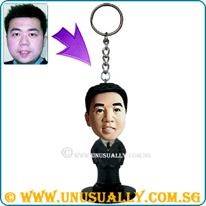 Custom 3D Mini Key Ring Male In Grey Suit Figurine
