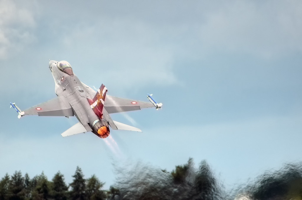 Royal Danish Air Force F-16 climbing