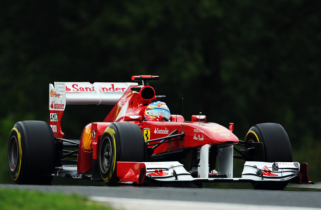 The Ferrari 150° Italia during Practice for the 2011 Hungarian Grand Prix
