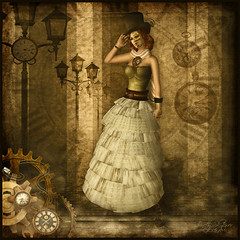 Pink {Steampunk 'd} (Trinetty Skytower) Tags: fashion sepia digital vintage photography mechanical watches modeling avatar sl secondlife virtual gears clocks steampunk trinettyskytower pinktikicatluv