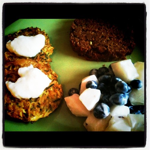 Fruit salad, zucchini bread, zucchini fritters