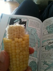 Saturday: reading and eating corn