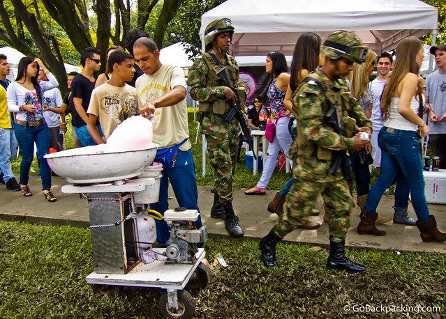 Colombian soldiers patrol the area