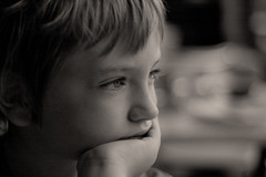 Now we are seven (Mr:Mac) Tags: boy portrait blackandwhite 50mm kid nikon child d70 profile thoughtful pensive hss monochrone