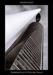 Trampantojo I (Toth del Valle) Tags: madrid urban bw españa building tower byn architecture skyscraper spain arquitectura torre bn urbano perspectiva contrapicado rascacielos virado toning torreespacio cbta lowanngle