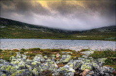 Mountain lake (johanbe) Tags: sky mist mountain lake nature fog nikon rocks day foggy idre hdr dimma d90 fjll nikond90
