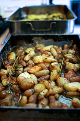 Roasted pink fir spuds