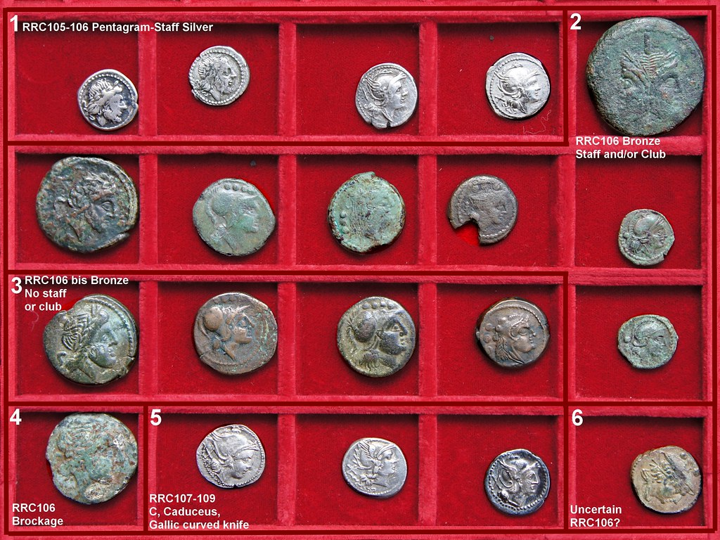 Etruria, Roman Republic Struck Bronzes with Staff and/or Club, and related Silver, Second Punic War Period