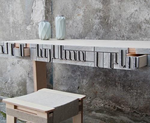 NewspaperWood table