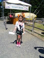 Madeline in her zipline harnass
