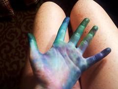 Blue Blend (MumLongLegs) Tags: blue green art cool mess hand purple mesh fingers freckles blend