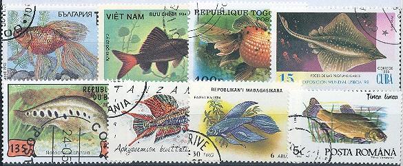Známky - 25 rôznych, ryby a vodný život