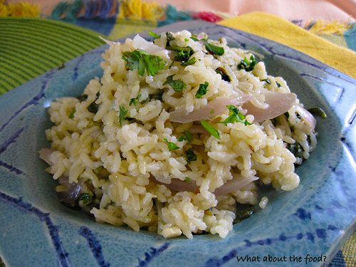 Buttery Basmati Rice with spinach and onions