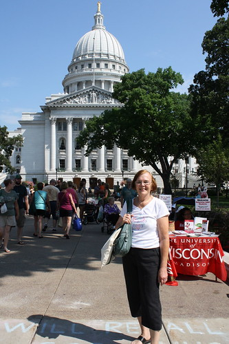 Mom outside of Capitol Madison