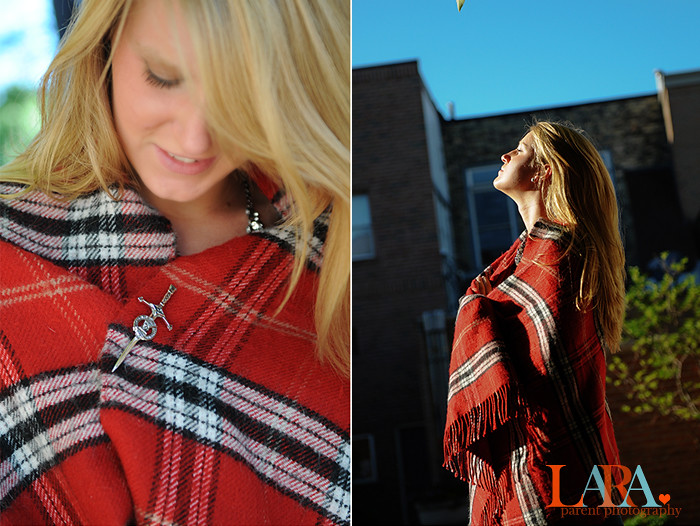 girl in tartan scarf in sun
