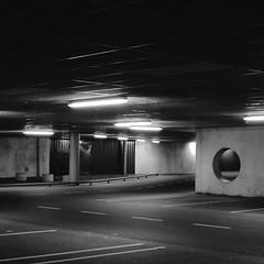 Abandoned (Bart_T) Tags: road white black cars ikea square industrial garage parking eery g11 abaondoned monochrime