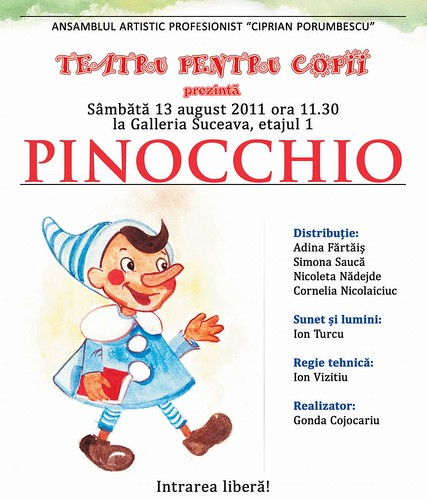 """Pinocchio"" – Teatru pentru copii la Galleria Suceava"