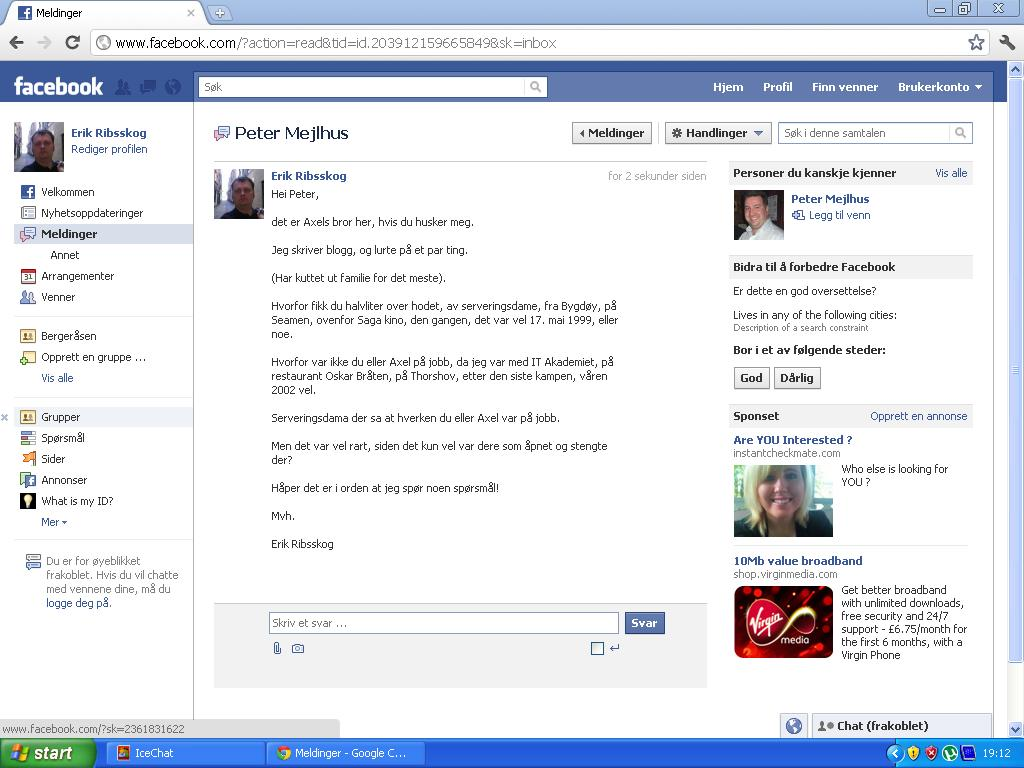 skrev facebook melding axels sjef