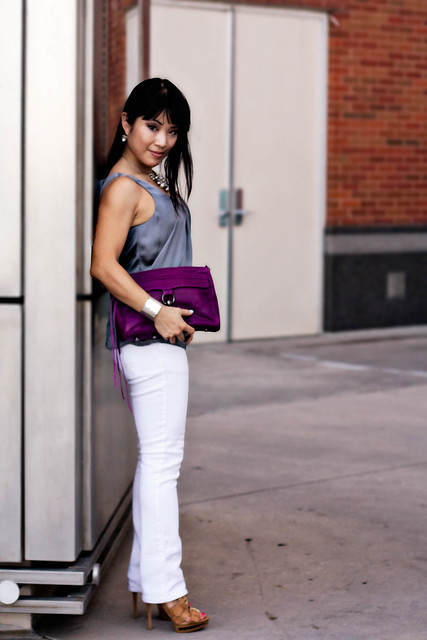 h&m satin pleated shell, delias white morgan skinny jeans, silver dimpled cuff, boutique 9 keeva cognac caged sandals, rebecca minkoff mac clutch