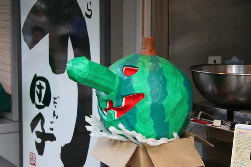 Watermelon/papier-mâché rendering of the long-nosed tengu