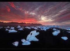 Colors of Nature - Sunrise at Jkulsrln, Iceland. (orvaratli) Tags: sea ice beach colors sunrise iceland sand glacier arctic iceberg stranded jkulsrln lavasand colc landscapearcticphoto