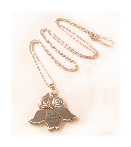 Sterling Silver Owl Pendant Necklace@USD89.95