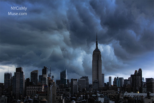 Wild afternoon skies: Empire State Building and ominous clouds on the skyline before the downpour
