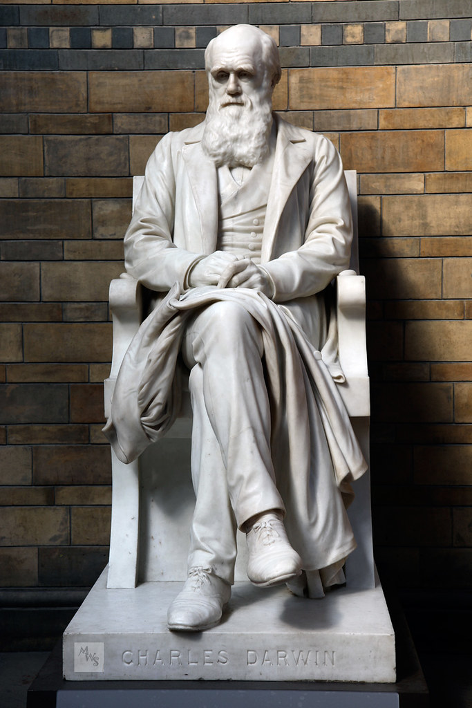 Marble statue of Charles Darwin, Natural History Museum, London, UK