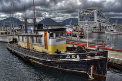 Ketchikan Harbor, Alaska (Thad Roan - Bridgepix) Tags: cruise mountain water alaska clouds port marina landscape harbor boat photo fishing ship image princess picture salmon overcast hdr thad ketchikan roan facebook sapphireprincess mistyfjords bridgepix revillagigedoisland tongassnarrows gravinaisland