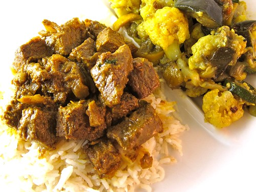 Beef curry over pulao
