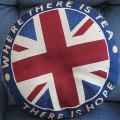 Where there is tea, there is hope (Major Clanger) Tags: blue hope tea flag squaredcircle british unionjack unionflag cushion redwhiteblue pasttimes