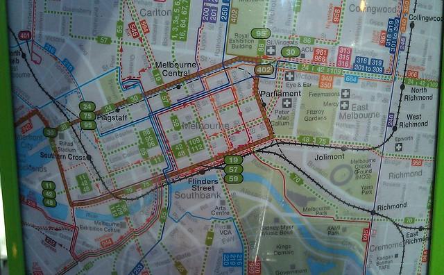CBD电车站的多式式地图