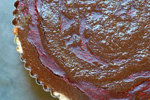 Chocolate Raspberry Tart just out of the oven by Eve Fox, Garden of Eating blog, copyright 2011