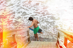(DecodingDillan) Tags: ocean light orange stairs swim surf waves leak skim