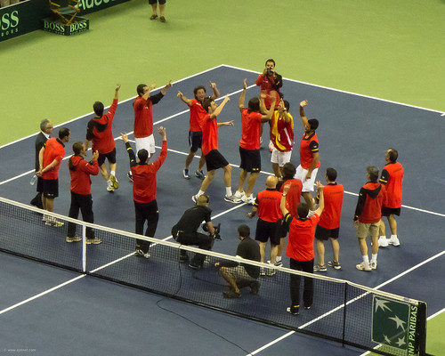 Spanish team celebrating Davis Cup victory