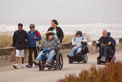 16123 Wheelchairs roll along the Great Highway near Pacheco