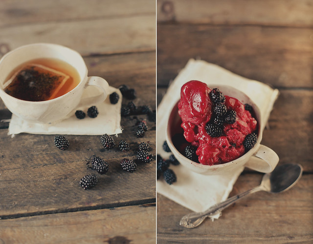 black tea + blackberry sorbet.