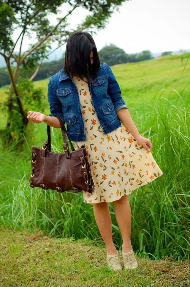 dress, jacket, wedge, brown handbag