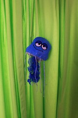 freckles the blue Jellyfish (AtotheNA) Tags: life blue cute green smile fun happy eyes colorful jellyfish bright cartoon droopy smug plush curtains imagination simple tenticles viivid ijellyfish