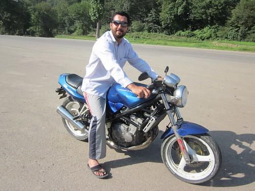Seyeb and his homemade Suzuki.