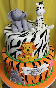 Zoo Animal Prints Custom Birthday Cake