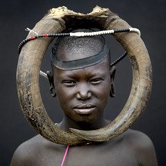 Mursi tribe imagination without border - Omo Ethiopia (Eric Lafforgue) Tags: woman girl artistic culture horns tribal hasselblad ornament tribes bodypainting tradition tribe ethnic rite mursi tribo adornment pigments ethnology tribu eastafrica thiopien etiopia ethiopie etiopa cornes  etiopija ethnie ethiopi  etiopien etipia  etiyopya  nomadicpeople    03447      h4d50 peoplesoftheomovalley
