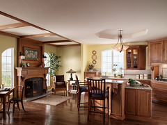 Arts and Crafts Kitchen (Behr Paint) Tags: brown white green kitchen yellow woodwork fireplace warm paint interior country diningroom walls behr artsandcrafts naturalwood premiumplus