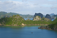 Halong Bay (Matt Champlin) Tags: world ocean life china travel blue sea tourism canon landscape asian boats se islands bay amazing junk asia southeastasia quiet peace view tourists vietnam exotic boating tropical waters halong halongbay junkboats