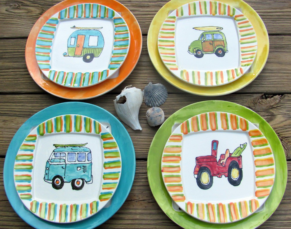 Hand painted surf dinnerware set
