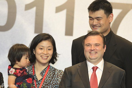 July 20th, 2011 - Yao Ming with wife Ye Li, baby Amy, and Rockets GM Daryl Morey